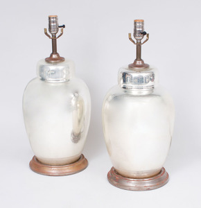 PAIR OF MIRRORED GLASS LAMPS