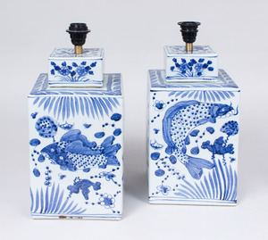 PAIR OF CHINESE BLUE AND WHITE PORCELAIN SQUARE JARS AND COVERS MOUNTED AS LAMPS