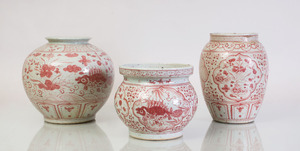 THREE VIETNAMESE IRON-RED DECORATED POTTERY VASES