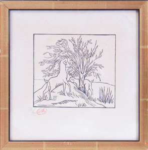 ARISTIDE MAILLOL (1861-1944): GOATS BY TREE, FROM LES GÉORGIQUES