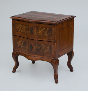 ITALIAN ROCOCO WALNUT PARQUETRY BEDSIDE CHEST