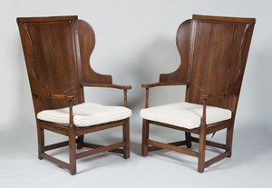 PAIR OF ENGLISH WALNUT WING CHAIRS