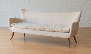 UPHOLSTERED WALNUT SOFA, ATTRIBUTED TO ERNST SCHWADRON