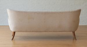 UPHOLSTERED WALNUT SOFA, ATTRIBUTED TO ERNST SCHWADRON