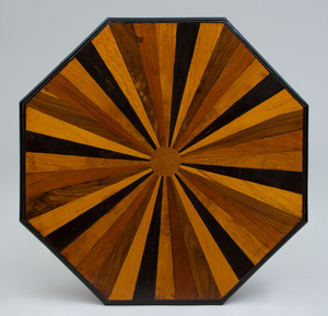 TWO SPECIMEN WOOD PARQUETRY AND EBONIZED OCTAGONAL-SHAPED TABLES, 20TH CENTURY