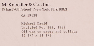 MICHAEL DAVID (b. 1980): UNTITLED NO. 182