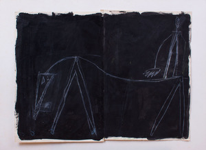 DAVID SPILLER (b. 1942): MAN ON HORSE WITH PITCHFORK