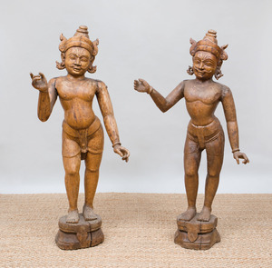 TWO SIMILAR INDIAN CARVED HARDWOOD FIGURES