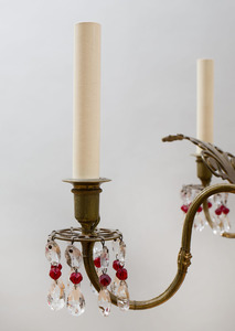 BALTIC NEOCLASSICAL STYLE GILT-BRONZE-MOUNTED CRANBERRY AND CUT-GLASS SIX-LIGHT CHANDELIER