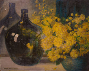 MAYNA TREANOR AVENT (1868-1959): YELLOW FLOWERS AND A GREEN BOTTLE