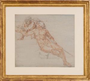Italian School: Nude Male Figure with Another Figure