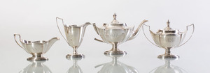 GORHAM STERLING SILVER THREE-PIECE TEA SERVICE AND MATCHING SAUCE BOAT