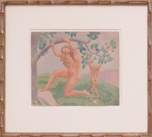 GASTON HENRI TOUSSANT (1872-1946): FIGURES IN AN ORCHARD; AND WOMAN WITH A LYRE