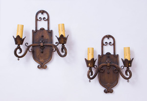 PAIR OF PAINTED METAL TWO-LIGHT SCONCES