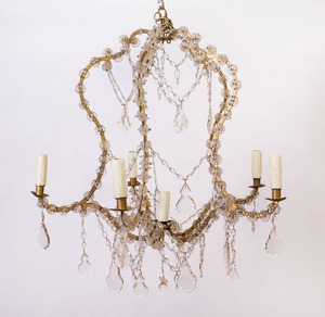 LOUIS XV STYLE GILT-METAL AND CUT-GLASS SIX-LIGHT CHANDELIER