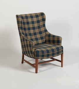 WING CHAIR UPHOLSTERED IN 'SCHUMACHER' PLAID