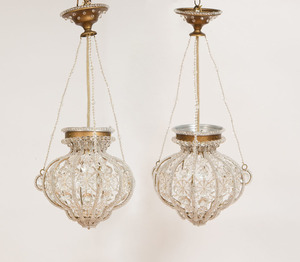 PAIR OF ITALIAN NEOCLASSICAL STYLE CRYSTAL PENDANT LIGHTS