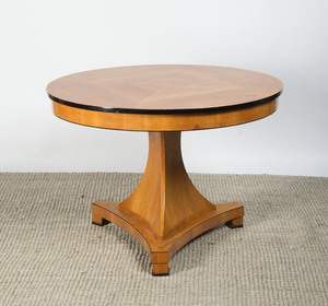 BIEDERMEIER STYLE BIRCH AND EBONIZED CENTER TABLE