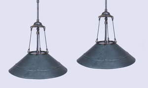 PAIR OF LARGE WHEELER TÔLE MIRRORED PENDANT LIGHTS