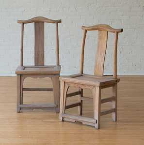 Pair of Chinese Provincial Elm Side Chairs