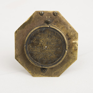 CONTINENTAL ENGRAVED BRASS OCTAGONAL ASTROLABE