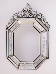 VENETIAN ETCHED-GLASS MIRROR, MODERN