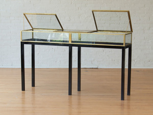 BRASS VITRINE ON LACQUERED WOOD STAND