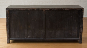 CHINESE GILT-METAL MOUNTED BLACK LACQUER CABINET
