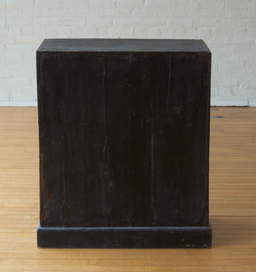 RUSTIC CHINESE LACQUER AND HARDWOOD TWO-DOOR CABINET