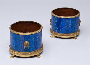 PAIR OF FRENCH ORMOLU-MOUNTED LAPIS LAZULI JARDINIÈRES