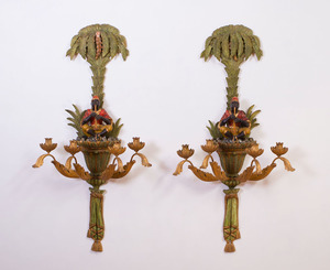 PAIR OF VENETIAN STYLE PAINTED AND PARCEL-GILT FOUR-LIGHT SCONCES