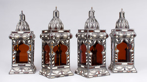 SET OF FOUR MOROCCAN METAL, BONE AND GLASS LANTERNS
