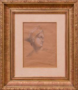 ATTRIBUTED TO JACQUES-LOUIS DAVID (1748-1825): TÊTE DE FEMME COIFEÉ À L'ANTIQUE