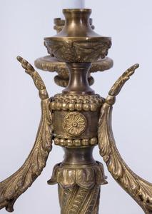LOUIS XVI STYLE GILT-METAL THREE-LIGHT BOUILLOTTE LAMP