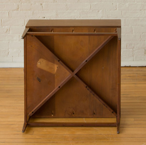 AMERICAN MODERN WALNUT TWO-DRAWER END TABLE