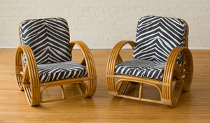 PAIR OF RATTAN ARMCHAIRS, IN THE STYLE OF PAUL FRANKEL