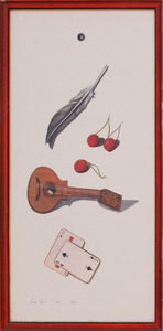 LEIGH HUNT: MANDOLIN WITH CARDS AND CHERRIES; MANDOLIN WITH FEATHER AND RIBBON; AND MANDOLIN WITH POPPIES AND JUG