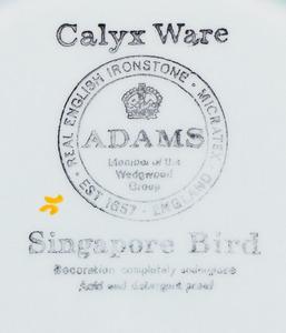 ADAMS CALYX WARE PART SERVICE IN THE 'SINGAPORE BIRD' PATTERN