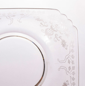 SET OF FOURTEEN ETCHED-GLASS SQUARE BOWLS