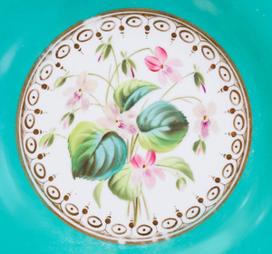 SET OF FIFTEEN ENGLISH TURQUOISE-GROUND PORCELAIN DESSERT PLATES