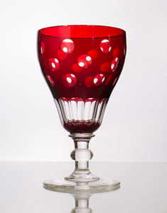 SET OF TWELVE RUBY-OVERLAY GLASS WATER GOBLETS