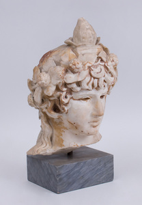 CARVED MARBLE BUST OF ANTINOUS, AFTER THE ANTIQUE
