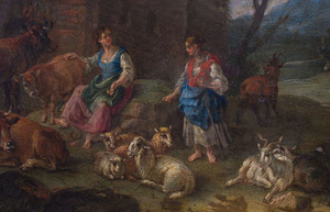 EUROPEAN SCHOOL: SHEPHERDESSES IN A LANDSCAPE