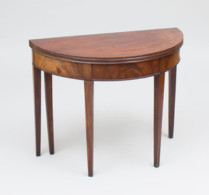 Early Federal Figured Mahogany Demilune Card Table, New England, Possibly Rhode Island