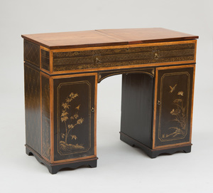 REGENCY BLACK JAPANNED AND SATINWOOD DRESSING TABLE