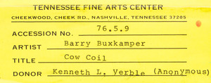 BARRY BUXKAMPER (b. 1946): COW COIL