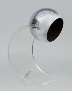 CHROME AND LUCITE DESK LAMP, IN THE STYLE OF ROBERT SONNEMAN