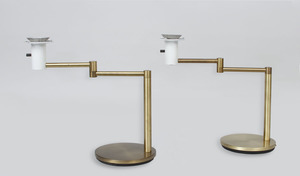 PAIR OF BRASS SWING-ARM DESK LAMPS WITH PLEXI SHADES FOR LIGHTOLIER
