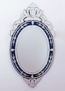 VENETIAN ETCHED GLASS MIRROR, MODERN