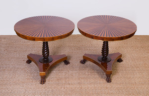 PAIR OF REGENCY STYLE MAHOGANY AND FRUITWOOD PARQUETRY SMALL CENTER TABLES